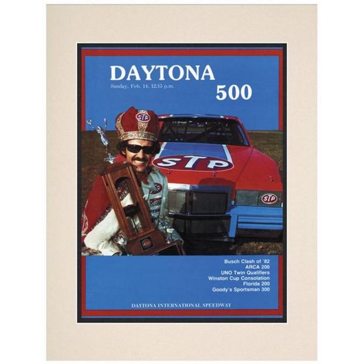 "Matted 10 1/2"" x 14"" 24th Annual 1982 Daytona 500 Program Print"