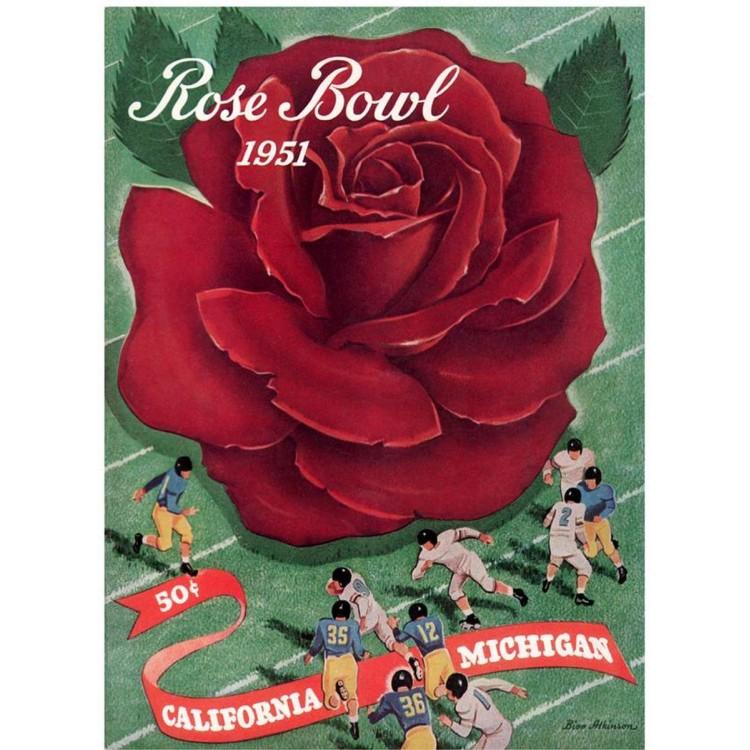 1951 Michigan Wolverines vs California Bears 22x30 Canvas Historic Football Print