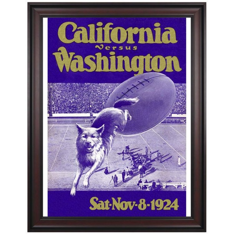 1924 Washington Huskies vs California Bears 36x48 Framed Canvas Historic Football Print
