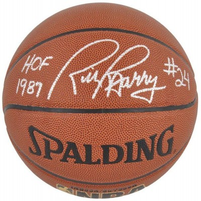 571224f7d14 NBA Golden State Warriors Rick Barry Autographed Basketball with HOF  87  Inscription - Mounted Memories