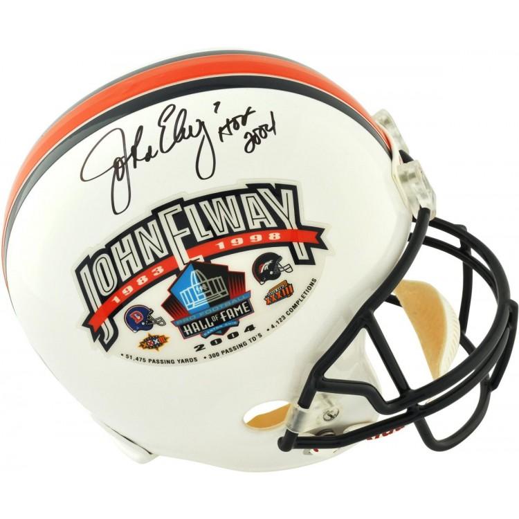 Riddell John Elway Denver Broncos Autographed Hall of Fame Full-Size Replica Helmet - White