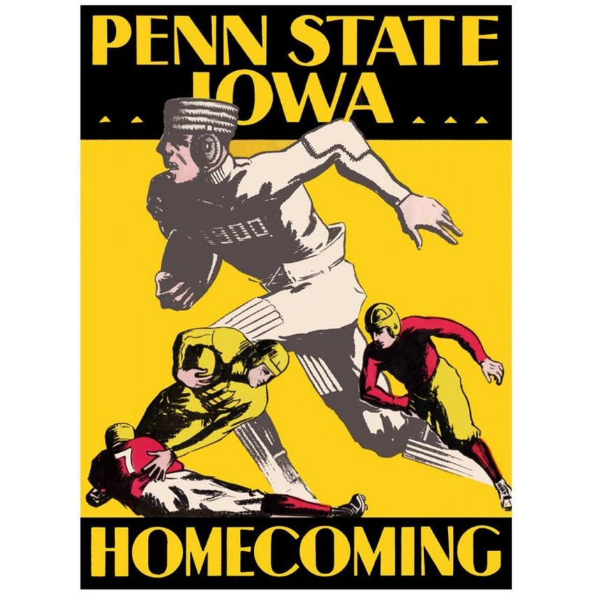 1930 Iowa Hawkeyes vs Penn State Nittany Lions 22x30 Canvas Historic ...