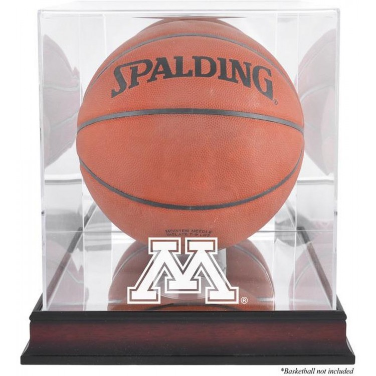 Minnesota Golden Gophers Mahogany Antique Finish Basketball Display Case with Mirror Back