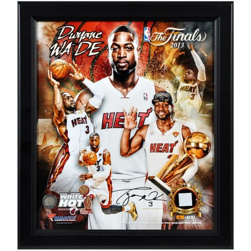 Dwyane Wade Miami Heat 2013 NBA Champions Framed 15x17 Multi Photo Collage  With Game Used Jersey Piece   L.E. Of 500