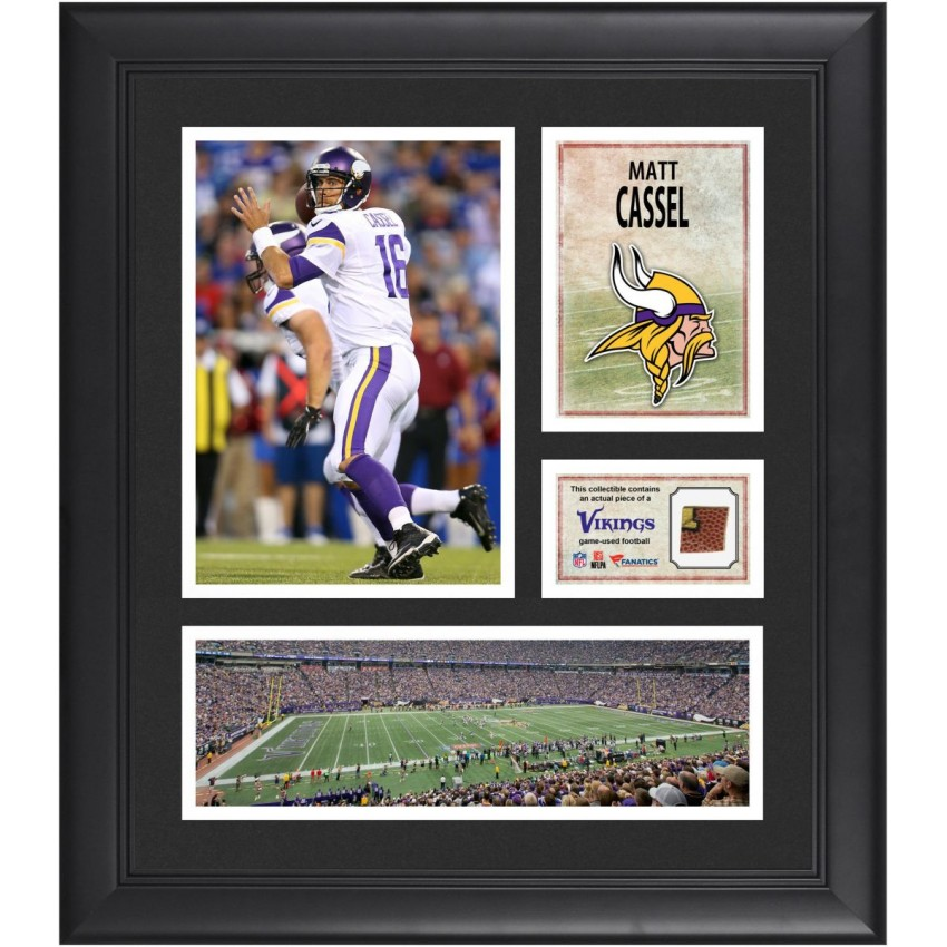 matt cassel minnesota vikings framed 15 x 17 collage with game used football