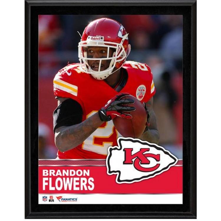 "Brandon Flowers Kansas City Chiefs Sublimated 10.5"" x 13"" Plaque"