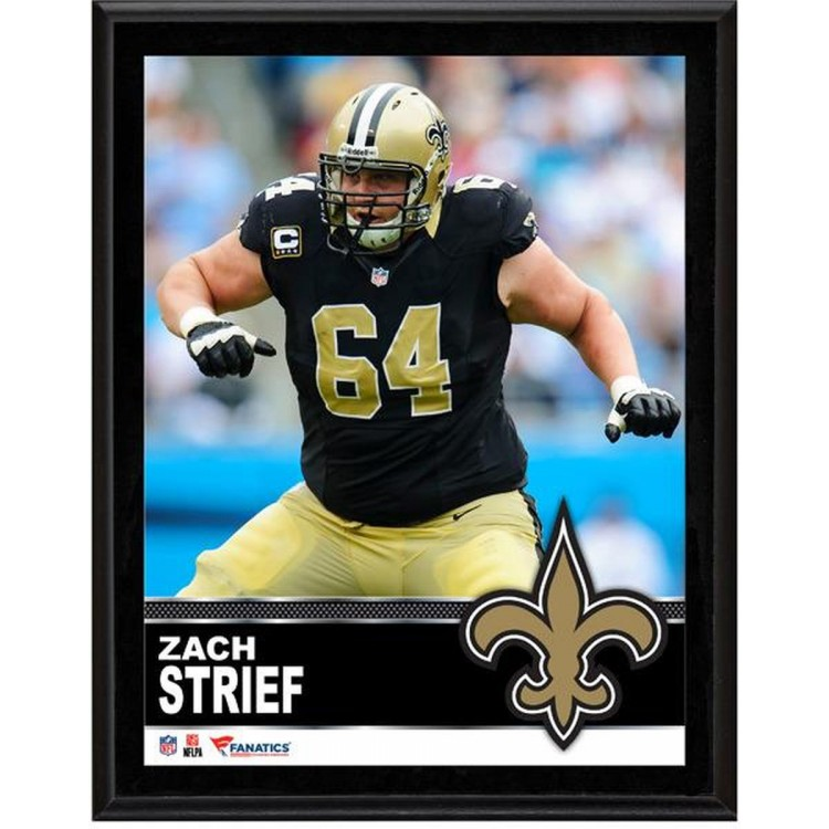"""Zach Strief New Orleans Saints Sublimated 10.5"""" x 13"""" Plaque"""