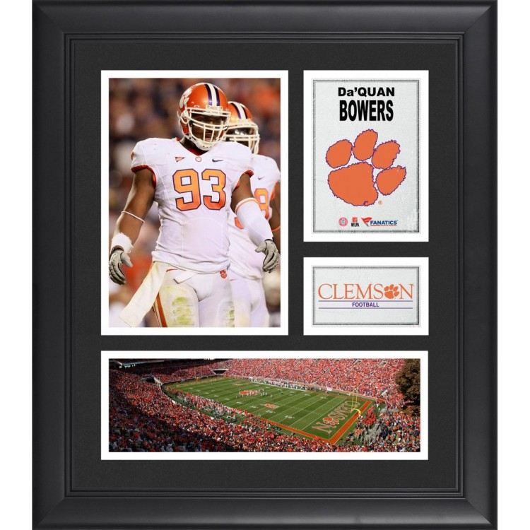 """DaQuan Bowers Clemson Tigers Framed 15"""" x 17"""" Collage"""