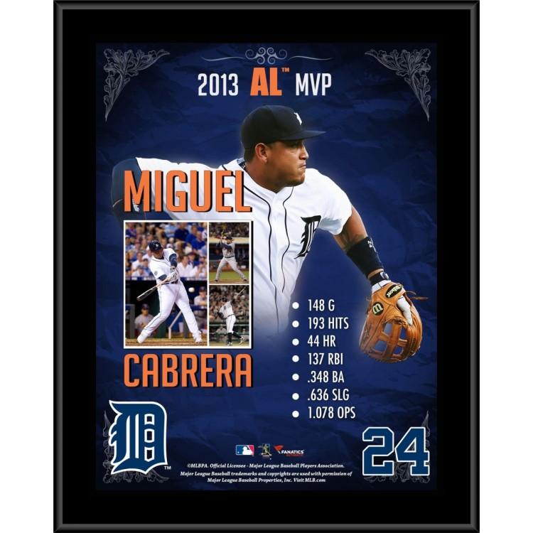 """Miguel Cabrera Detroit Tigers 2013 American League MVP Award Sublimated 10.5"""" x 13"""" Plaque"""