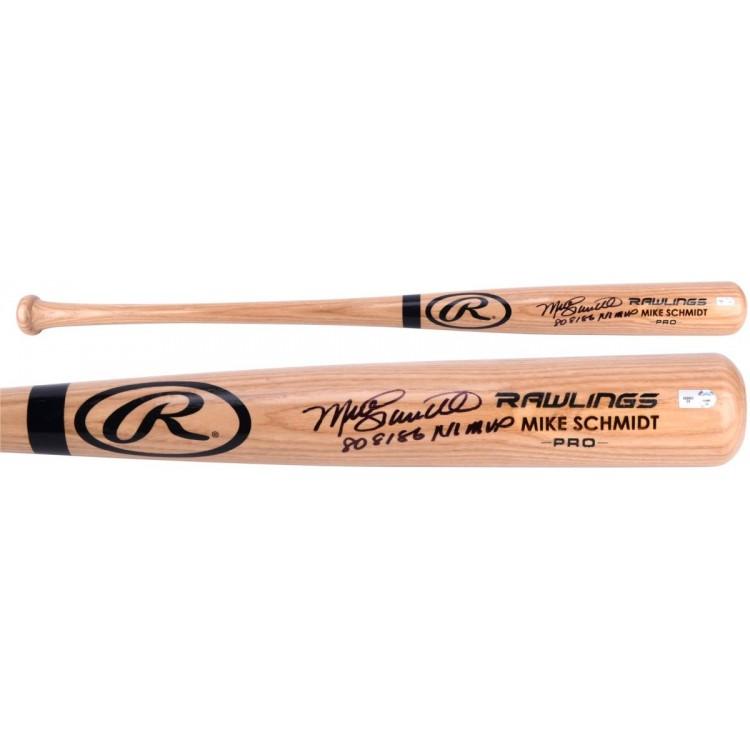 Mike Schmidt Philadelphia Phillies Autographed Rawlings Blonde Bat with 80',81',86' NL MVP Inscription