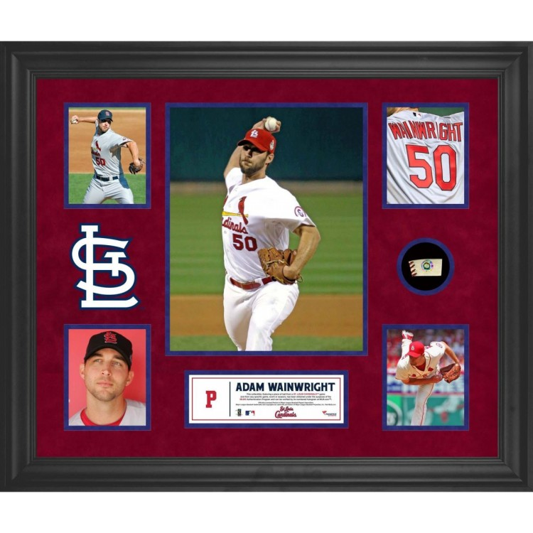 Adam Wainwright St. Louis Cardinals Framed 5-Photo Collage with Piece of Game-Used Ball