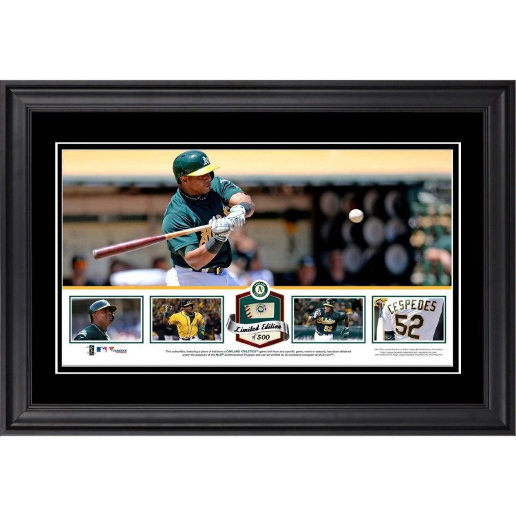 Yoenis Cespedes Oakland Athletics Framed Panoramic with Piece of Game-Used Ball - Limited Edition of 500