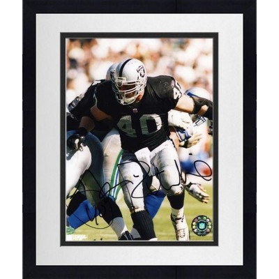 framed jon ritchie oakland raiders autographed 8 x 10 blocking photograph