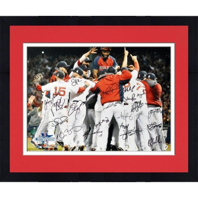 framed boston red sox 2013 world series champions team autographed 16 x 20 photograph