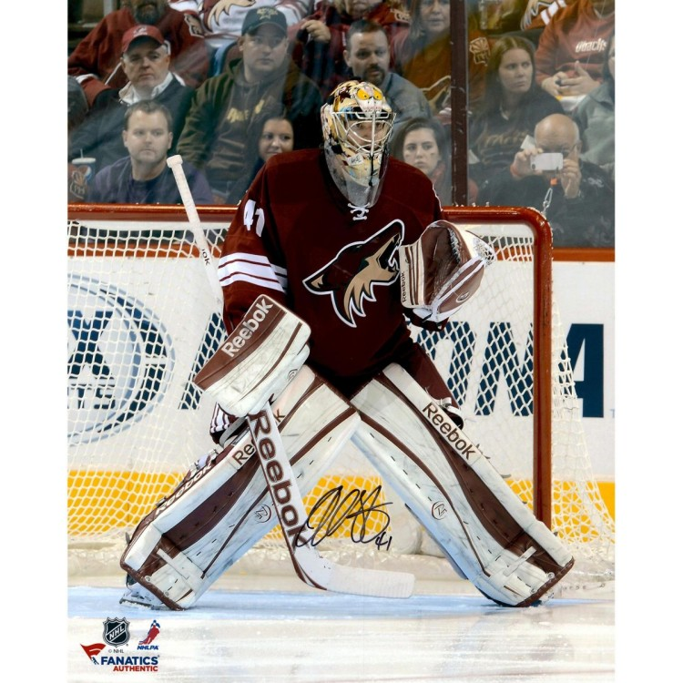 "Mike Smith Phoenix Coyotes Autographed 16"" x 20"" In Net Photograph"