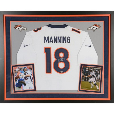 83bab9cdada Peyton Manning Denver Broncos Autographed Deluxe Framed Nike Limited White  Jersey