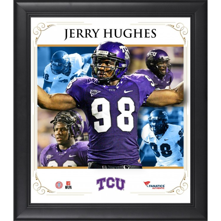 Jerry Hughes TCU Horned Frogs Framed 15'' x 17'' Core Composite Photograph