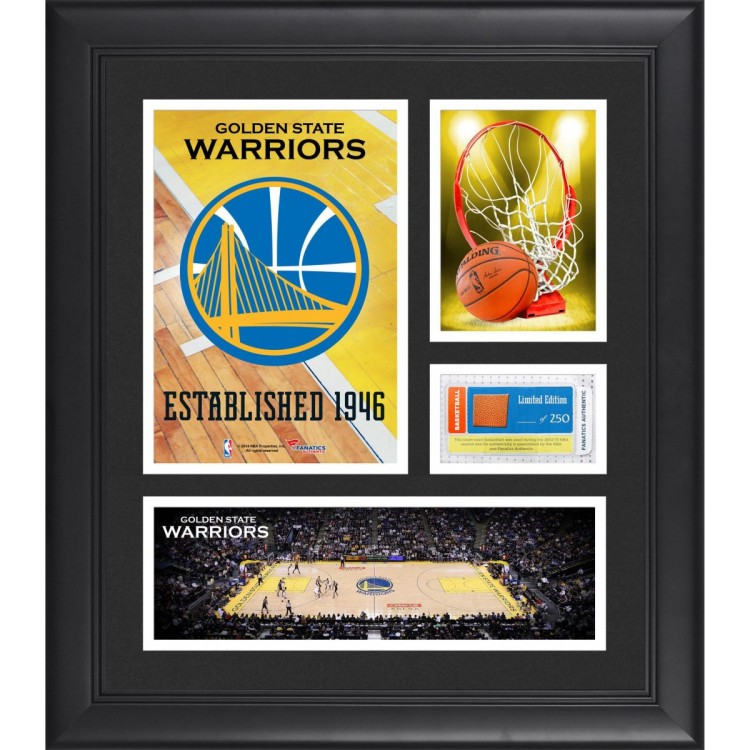 """Golden State Warriors Team Logo Framed 15"""" x 17"""" Collage with Team-Used Baseketball"""