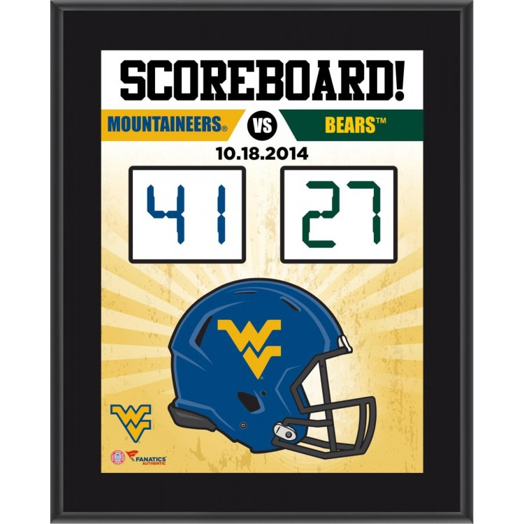 """West Virginia Mountaineers 2014 Win Over Baylor Bears Sublimated 10.5"""" x 13"""" Scoreboard Plaque"""