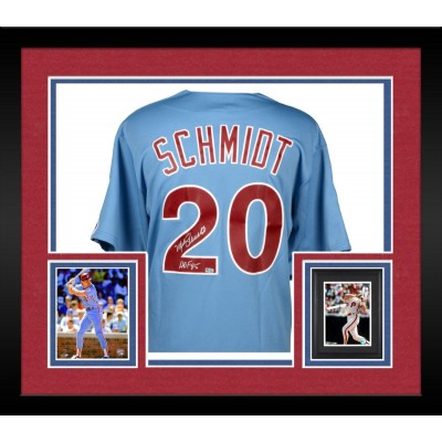 framed mike schmidt philadelphia phillies autographed majestic cooperstown replica blue jersey with hof 95 inscription