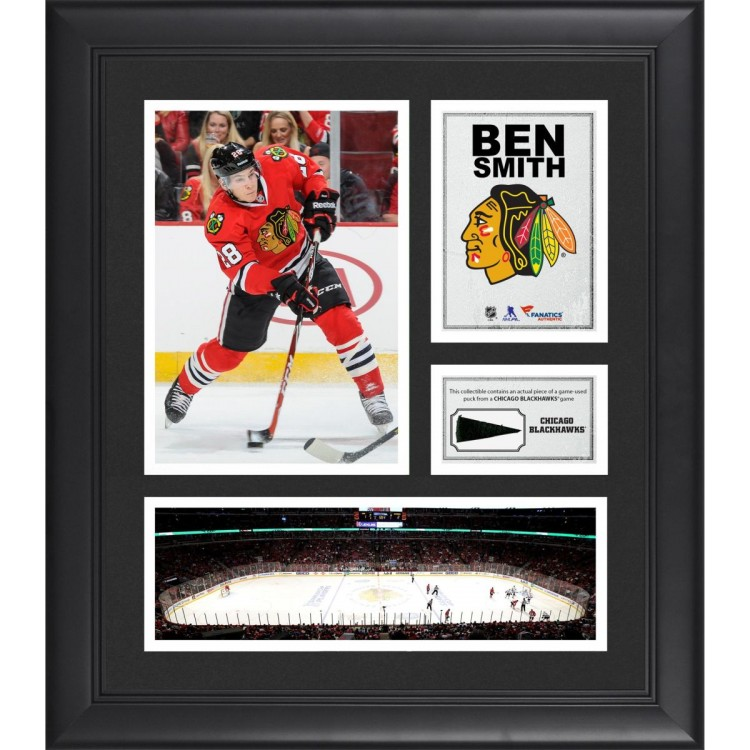 """Ben Smith Chicago Blackhawks Framed 15"""" x 17"""" Collage with Piece of Game-Used Puck"""