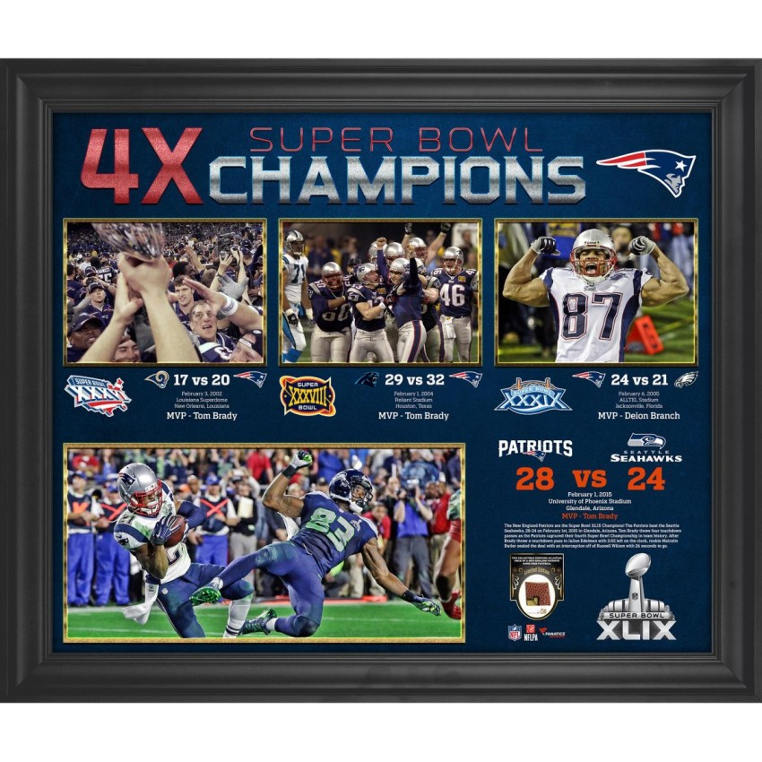 1e62b1e1eb9 New England Patriots Framed 4-Time Super Bowl Champion Timeline Collage  with a Piece of Game-Used Football - Limited Edition of 250