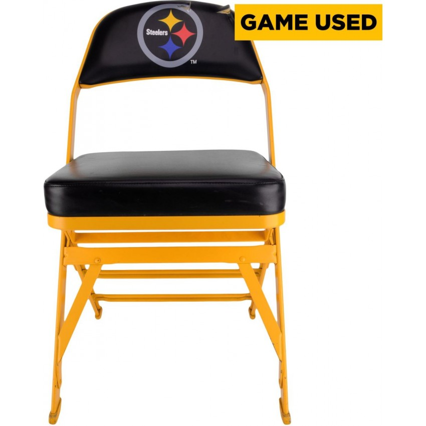 Charmant Pittsburgh Steelers Game Used 2014 Season Locker Room Chair Black Logo  Partial Tear (Hologram Number: 385905)