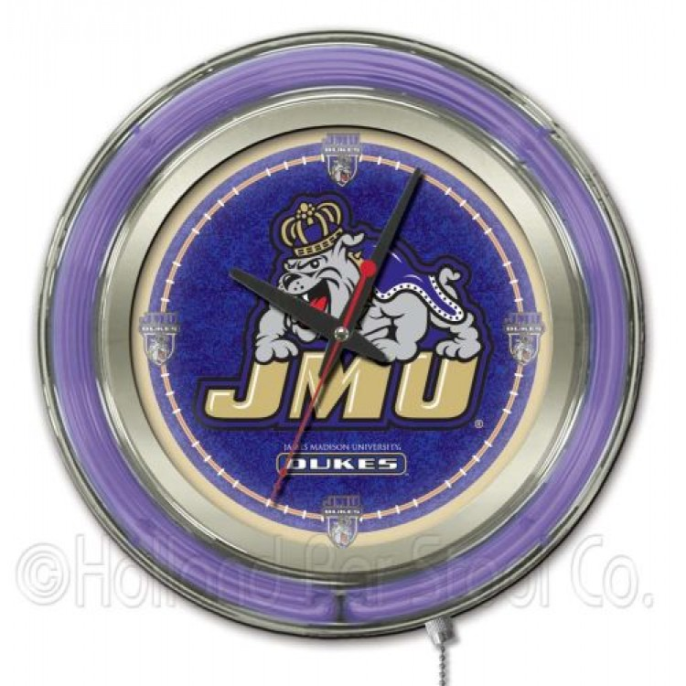 "James Madison Dukes 15"" Neon Clock"