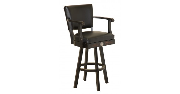 Jack Daniels Wood Bar Stool W Backrest Tn Charcoal Finish