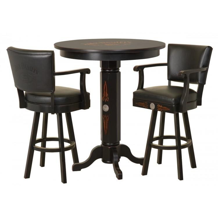 Jack Daniels Wood Pub Table & Backrest Stool Set - TN Charcoal Finish