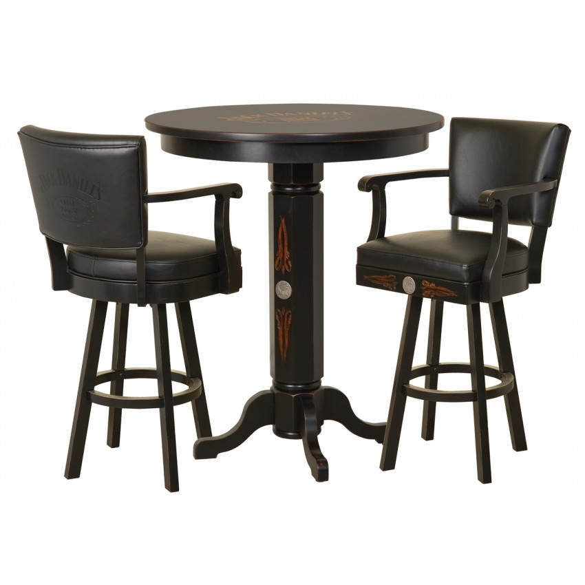 Harley Davidson Bar Stools >> Jack Daniels Wood Pub Table & Backrest Stool Set - TN Charcoal Finish