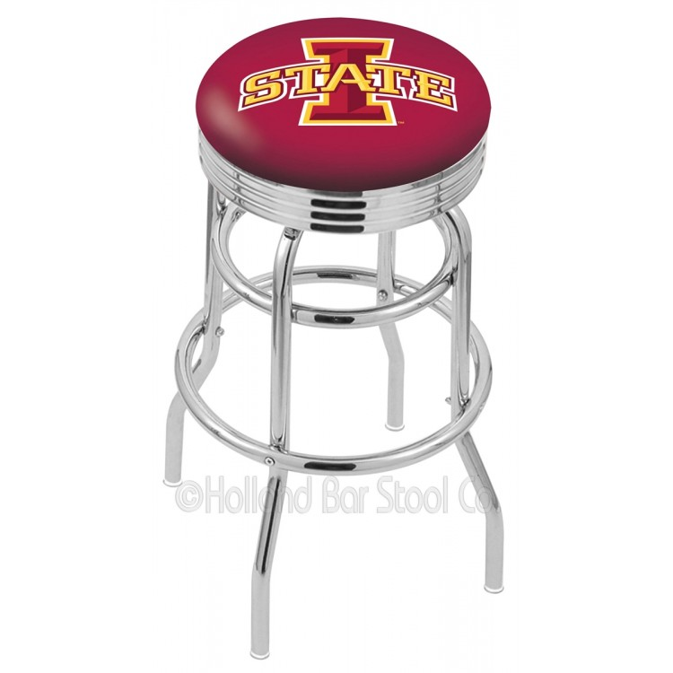 """Iowa State Cyclones 30"""" Chrome Double Ring Swivel Bar Stool with 2.5"""" Ribbed Accent Ring"""