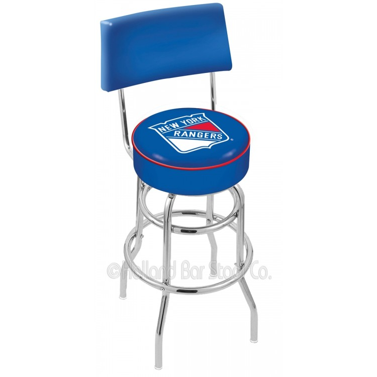 "New York Rangers 25"" Chrome Double Ring Swivel Bar Stool with a Back"