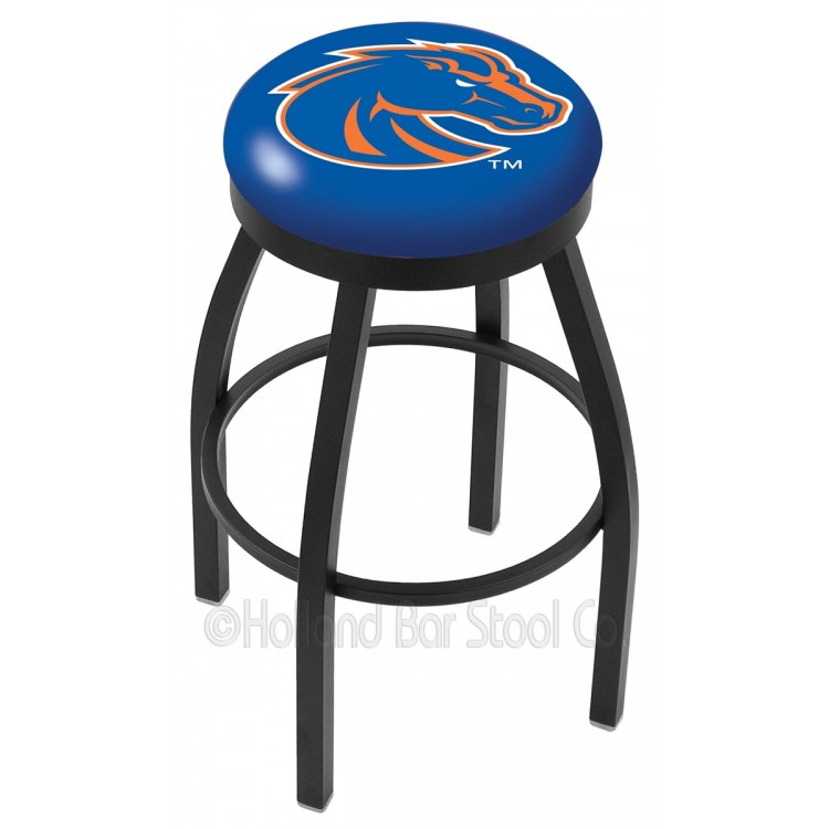 "Boise State Broncos 25"" Black Wrinkle Swivel Bar Stool with Accent Ring"