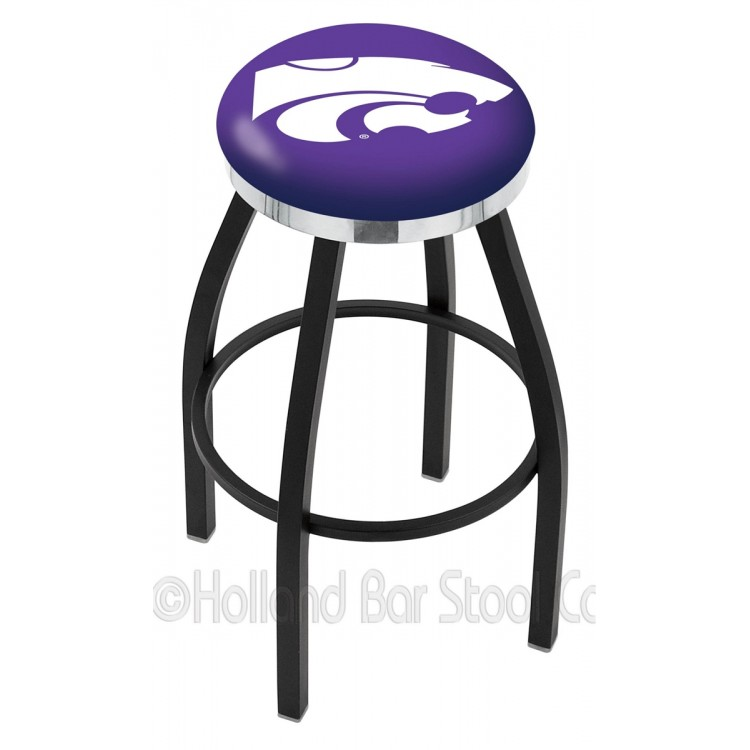"""Kansas State Wildcats 25"""" Black Wrinkle Swivel Bar Stool with Chrome Accent Ring"""