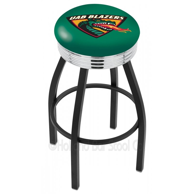 "Alabama Birmingham Blazers 30"" Black Wrinkle Swivel Bar Stool with Chrome 2.5"" Ribbed Accent Ring"