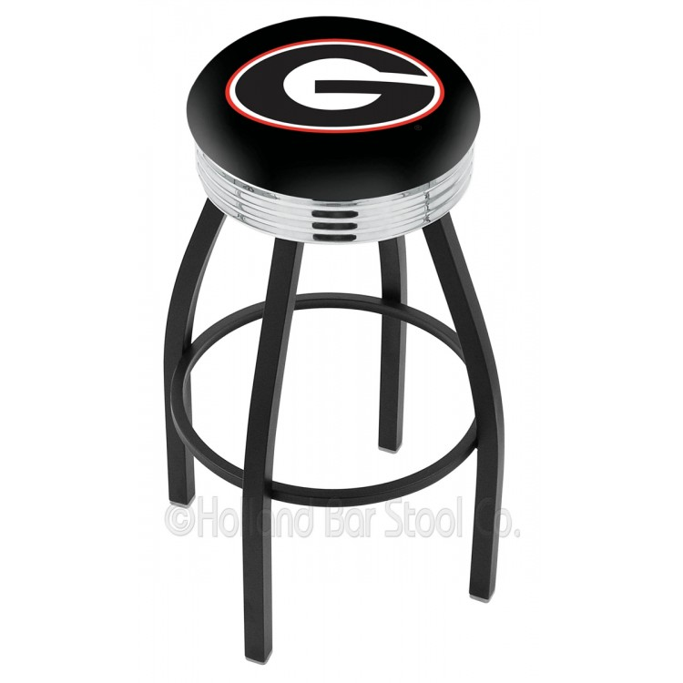 "Georgia Bulldogs 30"" Black Wrinkle Swivel Bar Stool with Chrome 2.5"" Ribbed Accent Ring"