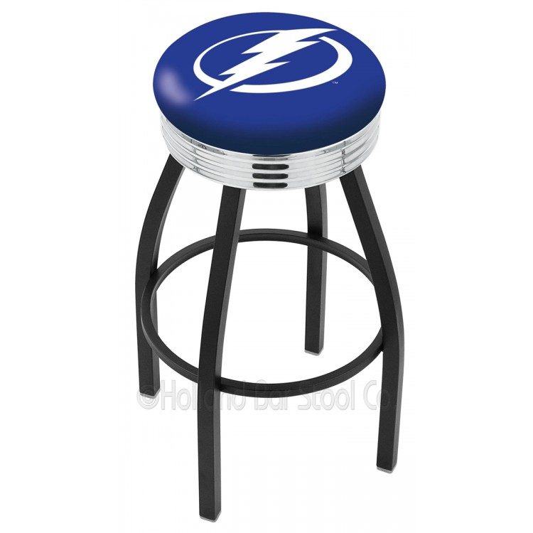 "Tampa Bay Lightning 30"" Black Wrinkle Swivel Bar Stool with Chrome 2.5"" Ribbed Accent Ring"