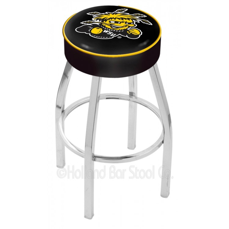"Wichita State Shockers 25"" 4"" Cushion Seat with Chrome Base Swivel Bar Stool"