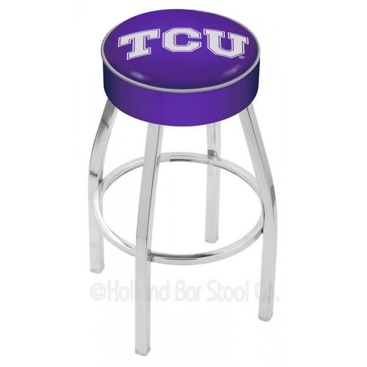 "Texas Christian Horned Frogs 30"" 4"" Cushion Seat with Chrome Base Swivel Bar Stool"