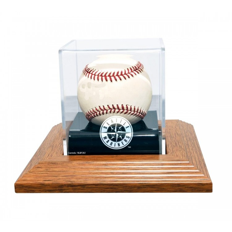 Seattle Mariners Natural Wood Base Baseball Display