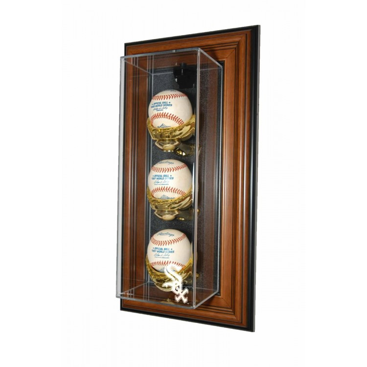 "Chicago White Sox 3 Baseball ""Case-Up"" Display, Brown"