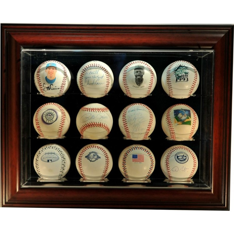 "12 Baseball ""Case-Up"" Display, Mahogany"