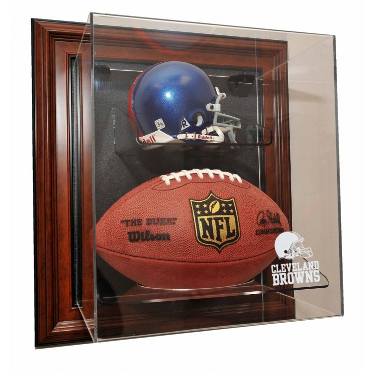 Cleveland Browns Mini Helmet and Football âœCase-Up❠Display, Brown