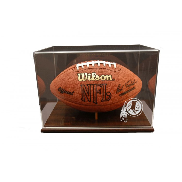 Washington Redskins Walnut Finished Base Football Display