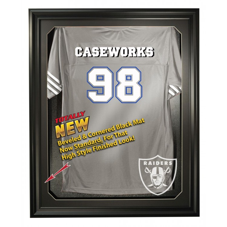 Oakland Raiders Cabinet Style Jersey Display - Black