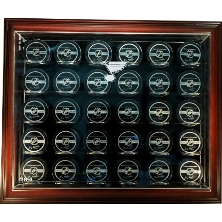 """St. Louis Blues 30 Puck """"Case-Up"""" Display Case, Mahogany"""