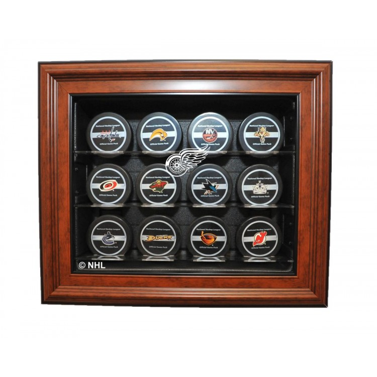 Detroit Red Wings 12 Puck Cabinet Style Display, Brown