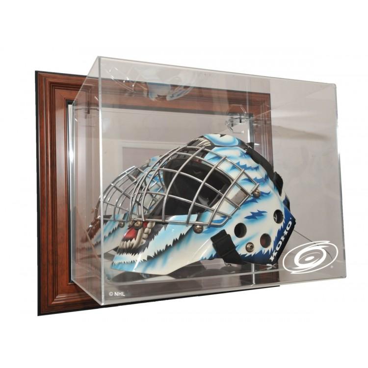 Carolina Hurricanes Goalie Mask Case Up Display, Brown