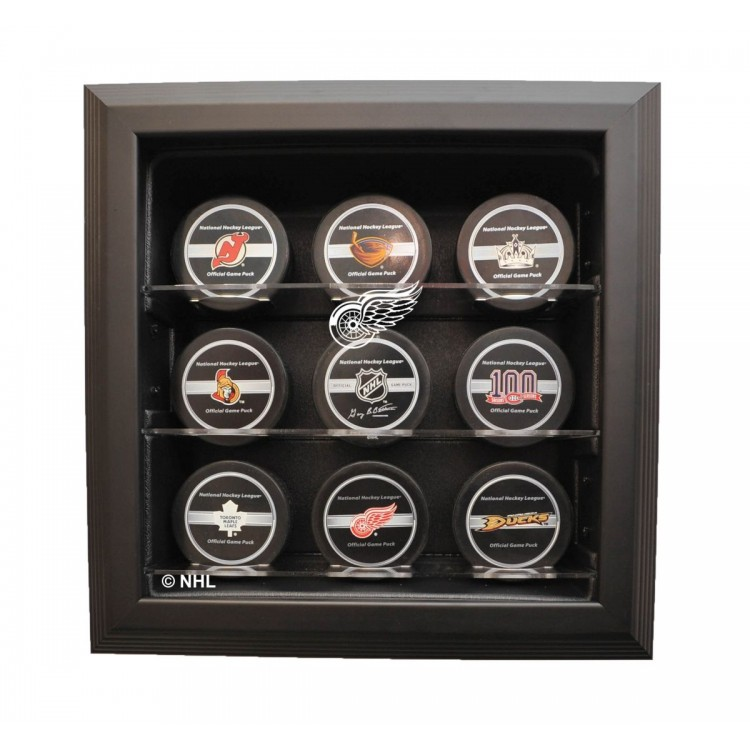 Detroit Red Wings 9 Puck Cabinet Style Display, Black